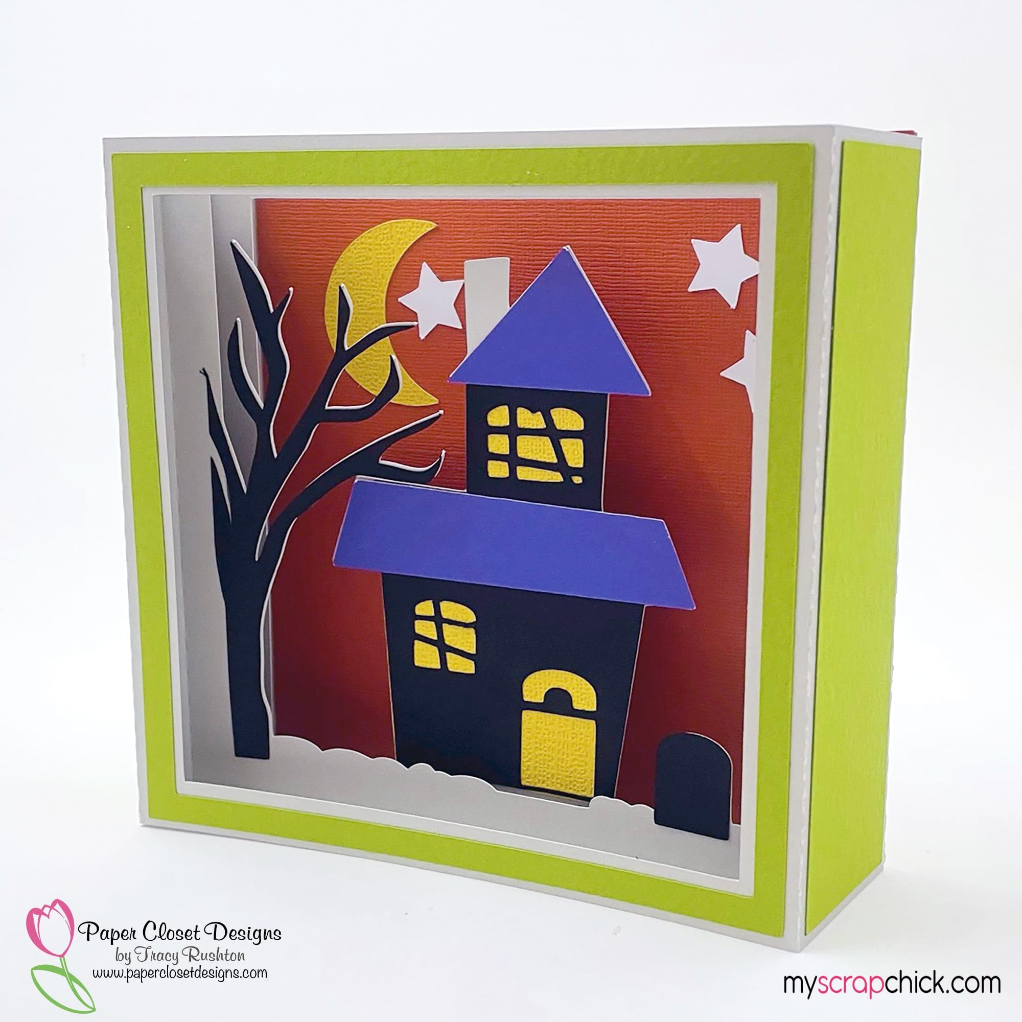 Haunted House Shadow Box Card Side