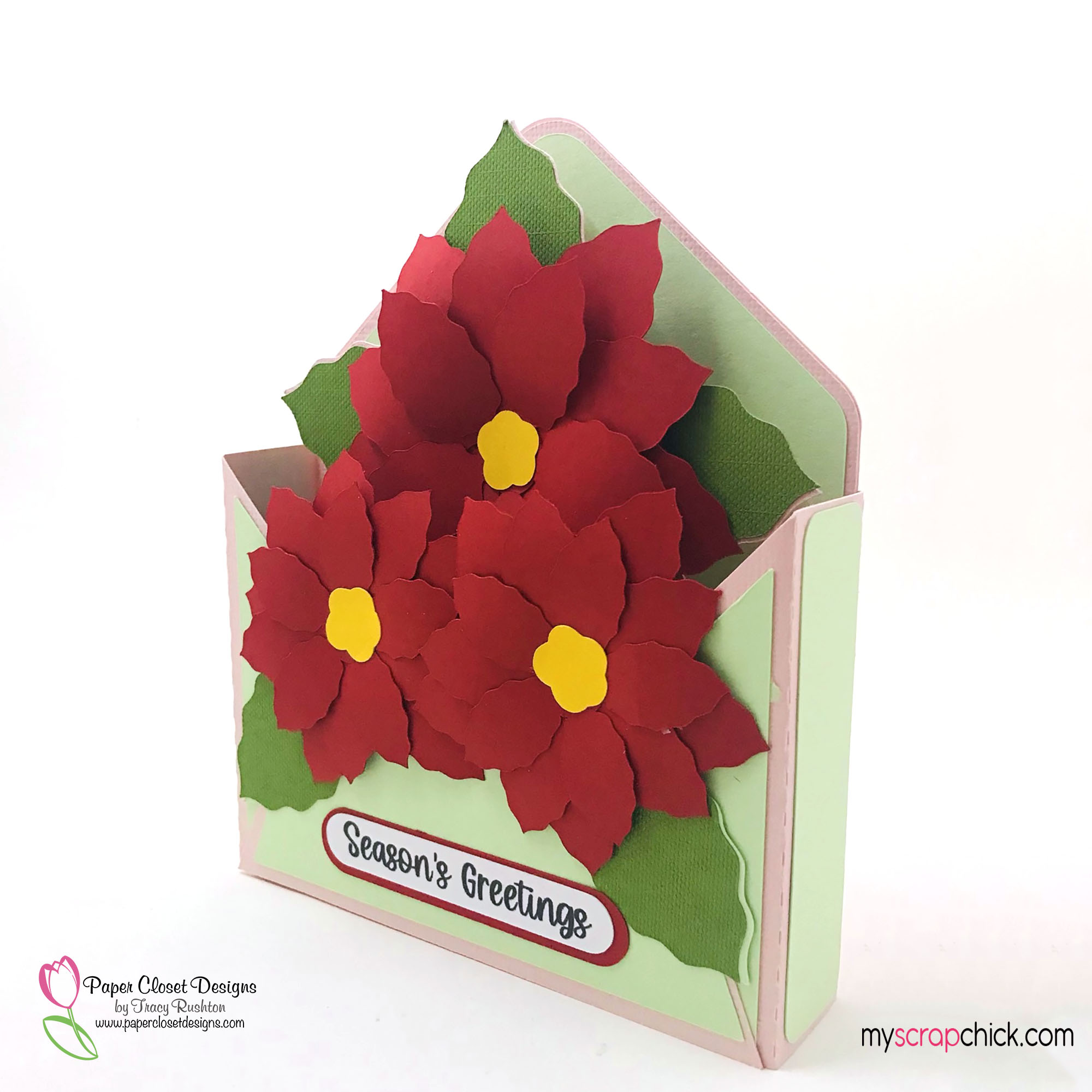 Poinsettia Envelope Box Card Side