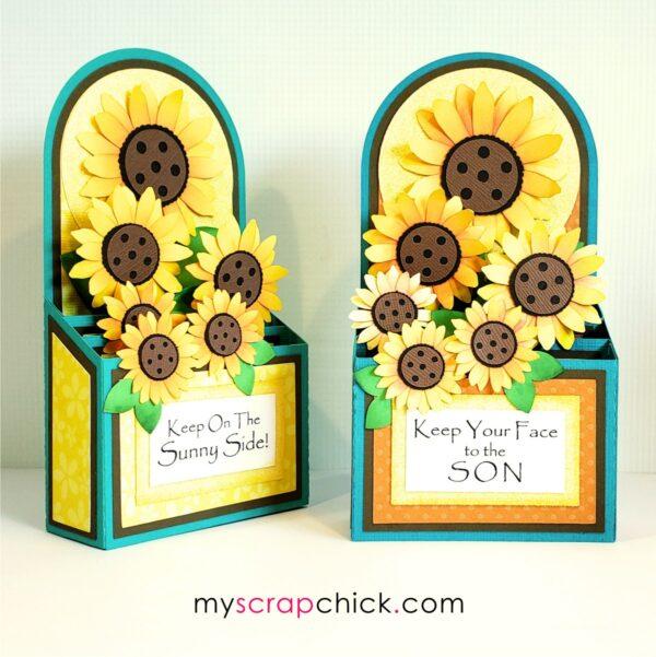 Pretty paper sunflowers in a box card.