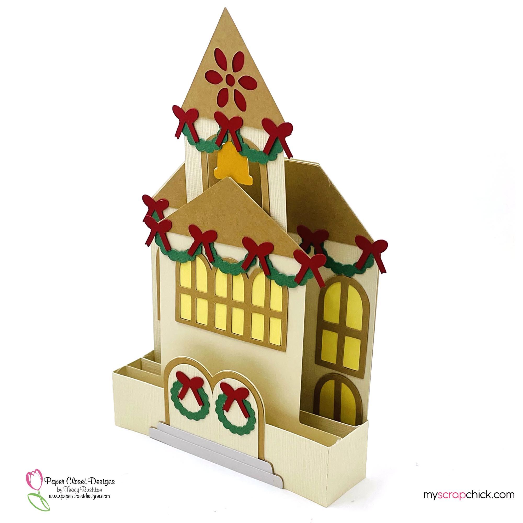 Christmas Church House box Card