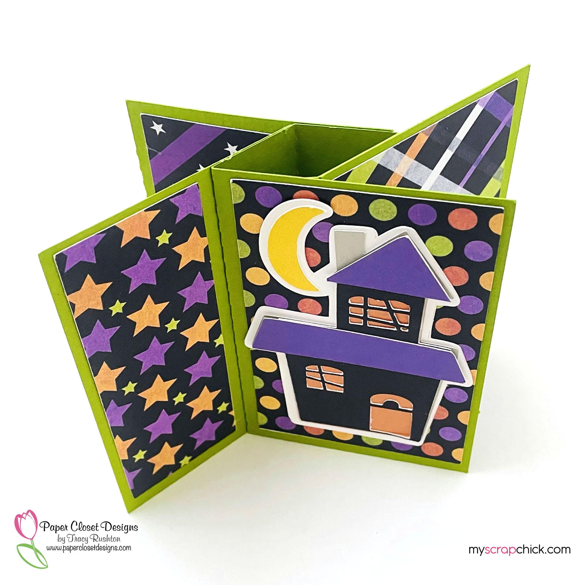 Haunted House Pinwheel Card top