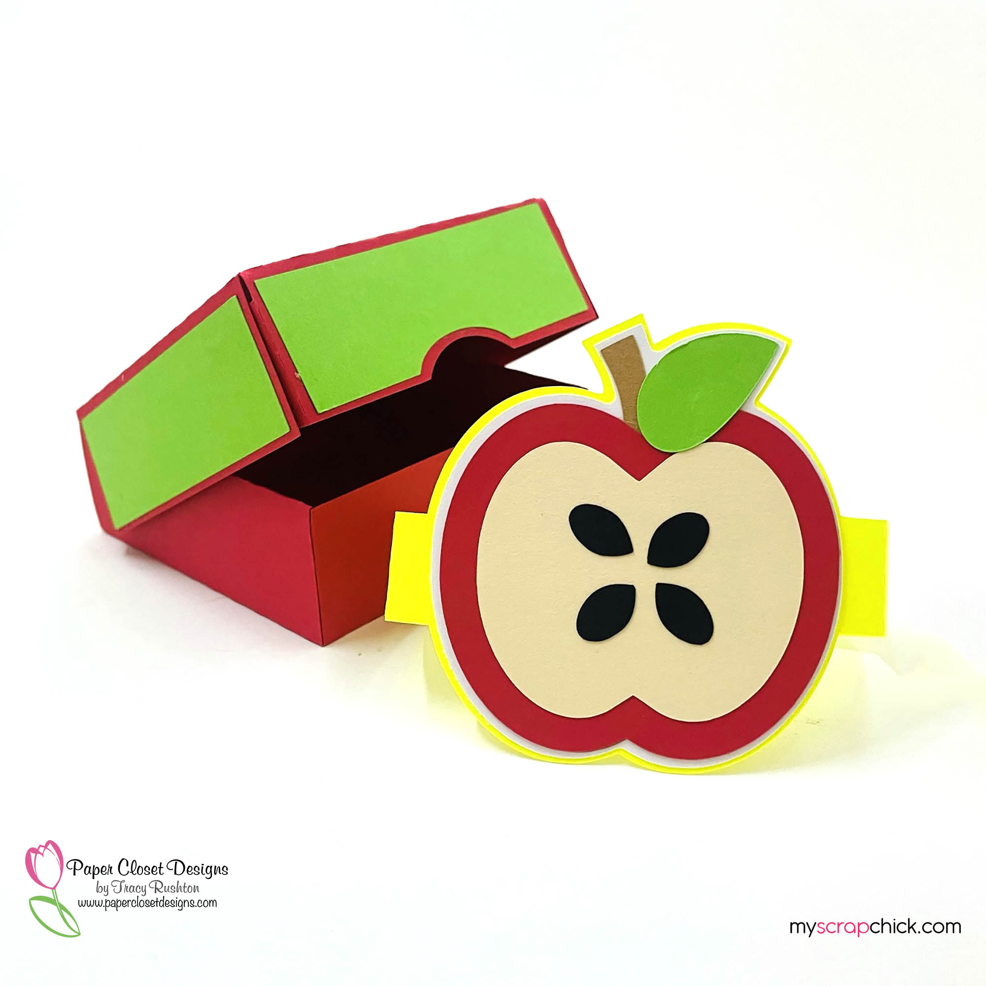 Hinged Box With Apple Core Open
