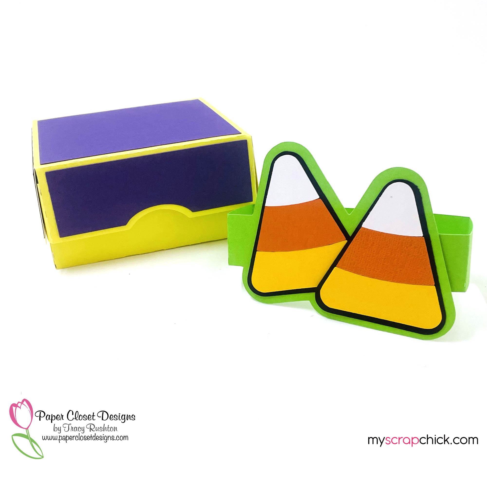 Hinged Box with Candy Corn Belly Band