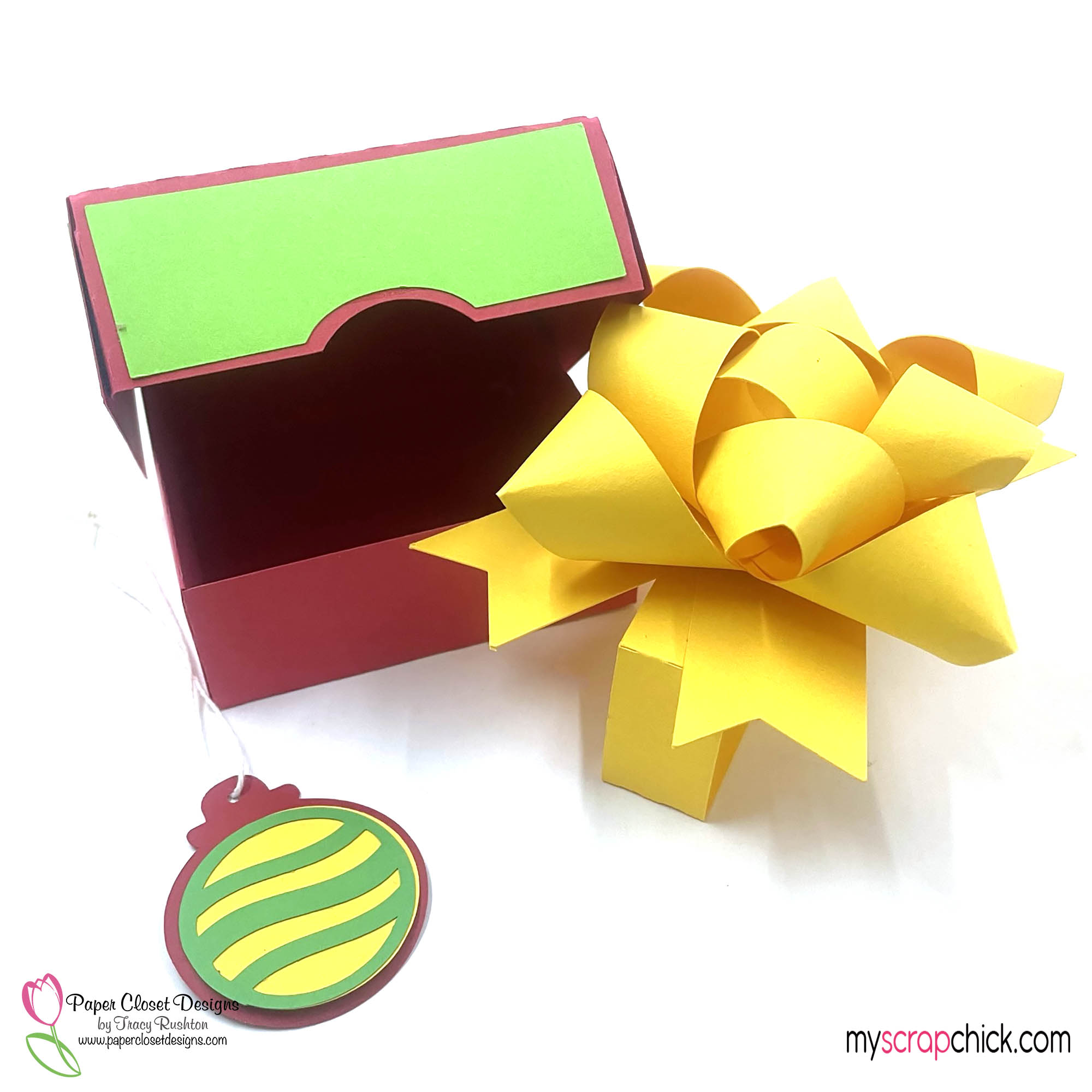 Hinged box with Christmas 3D Bow Open