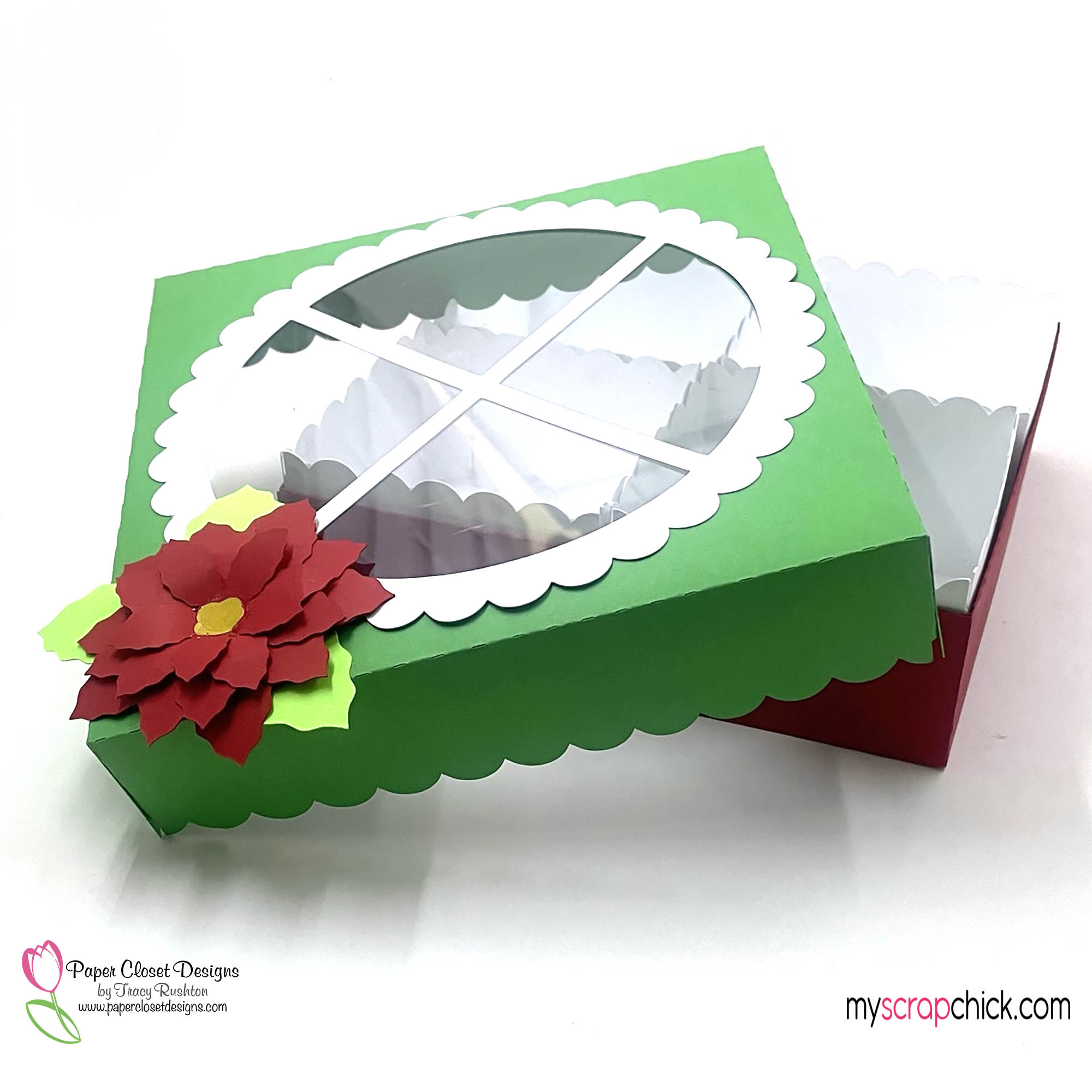 Poinsettia XLarge Cookie Box Open