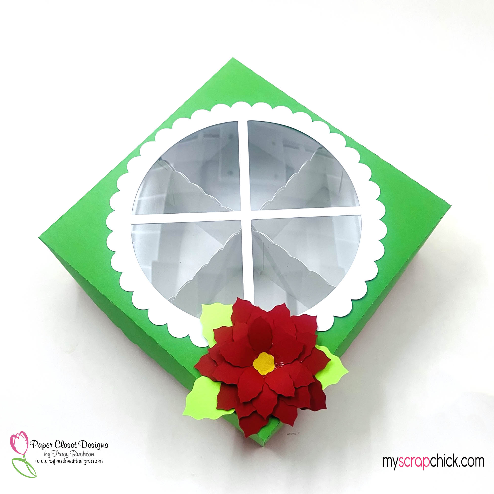 Poinsettia XLarge Cookie Box top
